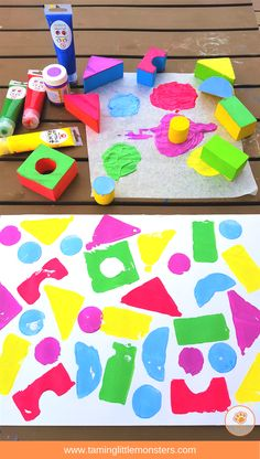 Painting with blocks is a fun process art activity for kids. Best of all, when it's finished you've got a no prep shape sorting activity all ready to go. Check out the 4 different kids of pictures your toddlers and preschoolers can make using blocks. Process Art Preschool, Preschool Painting, Preschool Art Projects, Art Activities For Toddlers, Preschool Arts And Crafts, Toddler Art Projects, Classroom Crafts, Art For Preschoolers, Toddler Painting Activities