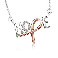 HOPE Diamond Necklace in Sterling Silver Pink Plated Ribbon