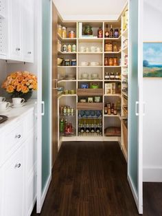 """Shelves, pullout baskets and shallow drawers will ensure your pantry offers a place for everything and keeps everything in its place. """"Even small closets can be converted into orderly and spacious walk-in pantries. It's about making the best use of the space you have,"""" says Rozalia Kiss, design manager of transFORM."""