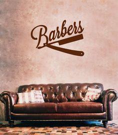 ik867 Wall Decal Sticker barber shop salon moustache haircut scissors hall
