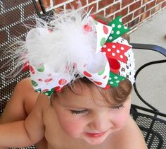 The ULTIMATE Christmas Bow....Funky Marabou Holiday Bow