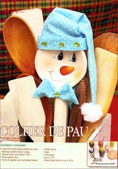 snowman wooden spoon