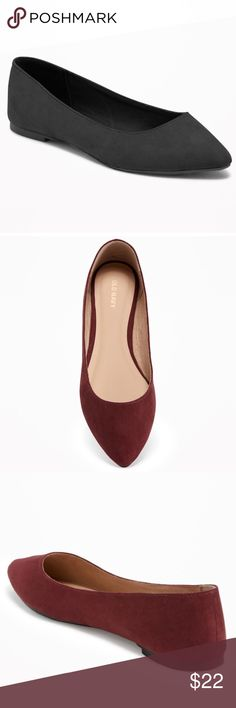 """Sueded Pointy Ballet Flats Product Details: Pointed toe. Soft, faux-suede. Cushioned footbed for comfort. Flocked rubber outsole. 1/4"""" heel.  Materials & Care: 100% synthetic materials. Imported.  Gently worn, only worn twice. Great Condition! Old Navy Shoes Flats & Loafers"""