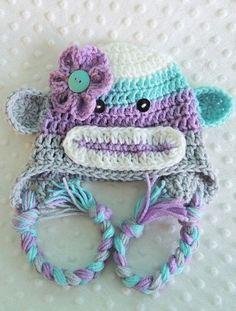 Sock Monkey Hat, Crochet Hats, Girl Sock Monkey Hats, Flower Hats, Flower Beanies, LuvBeanies, Monkey hats, Animal Hats, Photo Props, baby by LuvBeanies on Etsy
