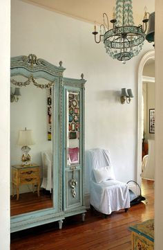 "Mint green mirrored armoire / Kerri McCaffety's ""New Orleans New Elegance"""