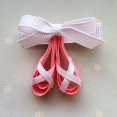 Pink Ballerina Slippers Ribbon Sculpture Hair Clip byTutus and Tea Parties: {Freebie Friday} Win a Monogrammed Bow Holder from…Ballet slippers barrette - found on Etsy, but I could makeballet shoes made out of ribbon. Great pin/broach idea maybe even a Ribbon Art, Ribbon Crafts, Ribbon Bows, Grosgrain Ribbon, Ribbon Barrettes, Ribbon Projects, Ribbon Flower, Diy Crafts, Hair Ribbons
