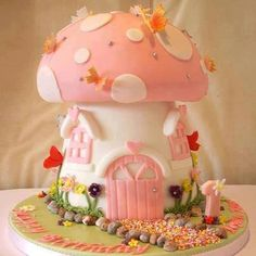 Cute Pink and White Mushroom House Cake