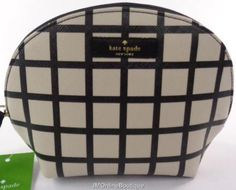 Kate Spade WLRU2244 Keri Brightwater Dr Small Dome Black Check Cosmetic Case  NEW b6f4dd9e5c682