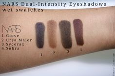 NARSissist Dual-Intensity eyeshadows swatches: Giove, Ursa Major, Sycorax & Subra wet http://bonnie-garner.com/en/2015/02/04/narsissist-dual-intensity-eyeshadow-palette-nars-review/