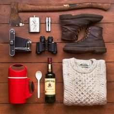 whereisthecoool:    A few camping essentials.    I have those boots!