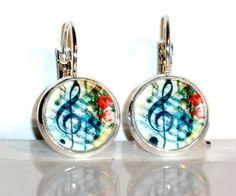 Ohrringe Notenschlüssel Glas Cabochon Legierung Ohrschmuck Modeschmuck Hänger