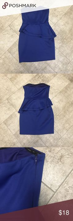 Strapless peplum dress Blue strapless peplum mini dress. Thick material. Very stylish. Worn this dress once. It is great if you are going to eat a lot because it hides your stomach good! Charlotte Russe Dresses Mini