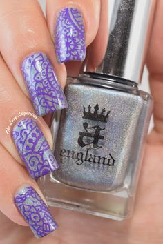 A-England Captive Goddess stamped with Born Pretty Store Nail Art Template Stamping Polish Varnish in #1 Purple. I used Moyou London Explorer Plate 22 for the design.