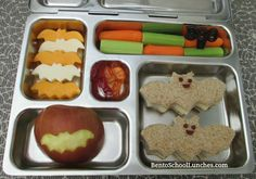 Halloween bat bento school lunch. Add some Lunchbox Love for Halloween or for kids. We have lots of bat trivia. Www.sayplease.com