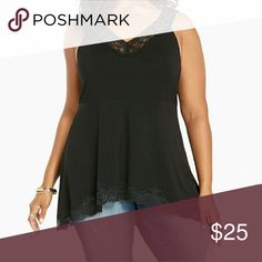 """PRICE DROPPED😊LACE STRAPPY peplum tank top Lingerie-inspired, this tank can easily go from bed to a night out. The black knit peplum has fit-and-flare quality along with stretch and silky softness. The lace trim on the v-neck, sharkbite hem, and a strap back will definitely turn up the heat on any night.  Model is 5?11?, size 1      Size 1 measures 27 1/2"""" from shoulder     Rayon/spandex     Wash cold, dry flat     Imported plus size top torrid Tops Tank Tops"""
