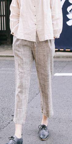 Beige Linen Casual Pants Women Loose Spring Trousers K9130 Linen Pants Outfit, Linen Trousers, Best Work Pants, Beige Pants, Pants For Women, Clothes For Women, Fashion Ideas, Women's Fashion, Fashion Tips