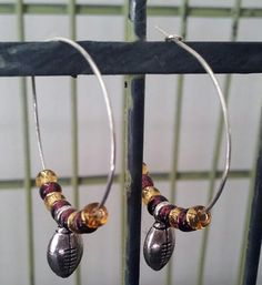 LSU Football Earrings https://www.etsy.com/listing/158570506/free-shipping-purple-and-gold-football