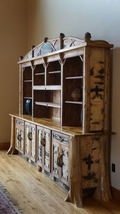 An Adirondack rustic bookcase, made of cedar, bark and twig and reclaimed antique wood. Twig Furniture, Unique Furniture, Custom Furniture, Luxury Furniture, Entryway Furniture, Contemporary Furniture, Adirondack Decor, Adirondack Furniture, Rustic Bookcase