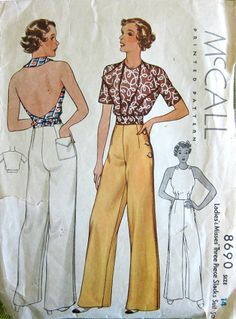 1930s Vintage Sewing Pattern - Backless Halter Top Side Button Slacks - McCall 8690