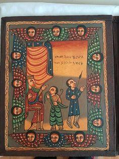Large Handmade Wood Ethiopian Orthodox Coptic Icon Altar