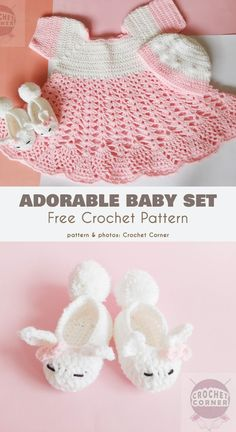 Crochet Dress and Kitty Baby Booties Set Free Pattern - Baby Dress Baby Girl Crochet Blanket, Crochet Baby Dress Pattern, Baby Dress Patterns, Baby Clothes Patterns, Crochet Girls, Crochet Baby Clothes, Crochet Baby Hats, Baby Knitting, Crochet Patterns
