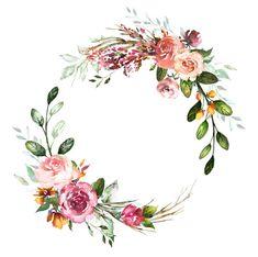 credit to artist credit to artist Frame Floral, Flower Frame, Flower Art, Floral Wreath Watercolor, Watercolor Flowers, Watercolor Art, Motif Floral, Floral Border, Logo Fleur