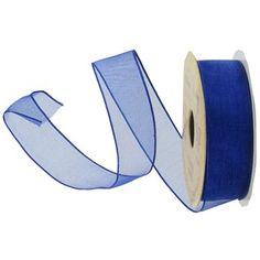 "7/8"" Royal Blue Wired Edge Sheer Ribbon"