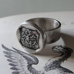wax seal ring Armorial Eagle Crest Size 8 wax seal by RQPStudio