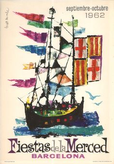 #Cartells #Franquisme #Festes_de_la_Mercè  #Barcelona Barcelona, Las Mercedes, Balearic Islands, Sailing Ships, Boat, Movie Posters, Wall, Art Faces, Vintage Posters
