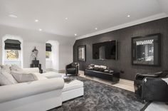 Home Interior Design Media Room. This is a very comfortable and masculine Media Room. This is a very comfortable and masculine Media Room. Manly Living Room, Accent Walls In Living Room, Living Room Decor, Bedroom Decor, Entryway Decor, Master Bedroom, Wall Decor, Home Design, Interior Design