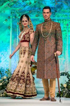 Asiana Bridal Show: Harkirans / Ziggi Studio ivory gold lengha khaki sherwani via IndianWeddingSite.com