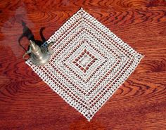 Square crochet doily 10 inches Beige square doily Lace crochet doily Crochet place mat Square placemat - pinned by pin4etsy.com