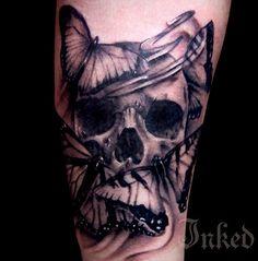 Skull and butterflies by Pickles #InkedMagazine #skull #butterflies #Inked #ink #art #tattoos #tattoo #blackandgrey
