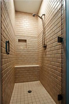 The Tile Look In This Shower Is So Cool! Man Cave Bathroom, Custom Shower