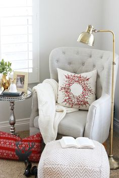 The holiday pillows have arrived at HomeGoods! The will go quickly. I will be using a couple in this cozy corner to welcome in the holidays. #happybydesign #homegoodshappy #sponsored