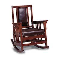 Coaster Company Dark Oak Wood Padded Leather Rocker Chair
