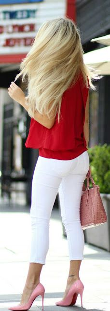 Red half sleeve tops and white skinny jeans - Street fashion