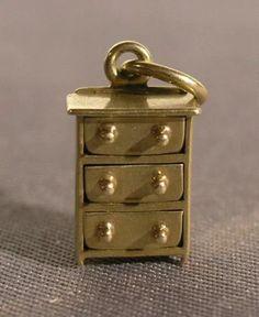 Bedroom Dresser Charm in Yellow Gold grams) (c. Cute Jewelry, Charm Jewelry, Jewlery, Locket Charms, Lockets, Bracelet Charms, Charm Braclets, Antique Jewelry, Vintage Jewelry