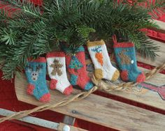 set of 6 Christmas stocking ornaments  100% wool heathered yarns add a home-y touch to your tree