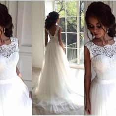 Ivory Prom Dress,Lace Prom Dresses,Open Backless Prom Dress,Elegant Wedding Gowns,Wedding Dresses,Beautiful Tulle Bridal Dresses,Bridal Gowns DR0203