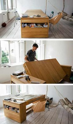 Very cool solution if you need a big desk. Flip the desk 180 degrees to reveal a big bed.