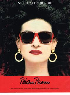 red vintage paloma picasso eyeglass frames | Vintage sunglasses AD Paloma Picasso, 1980s red cherry style, digged ...