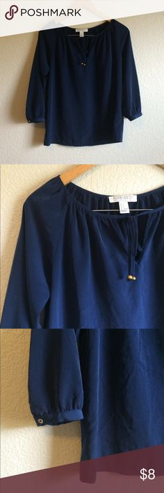 Navy Blouse This simple navy blouse ties at the neck with gold beads and 3/4th sleeves. Forever 21 Tops Blouses