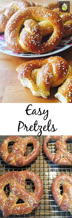 Easy Pretzels. These are delicious and easy to make. You can add sweet or savory toppings, or a combination to suit!  Great party food! #bread #pretzel #partyfood