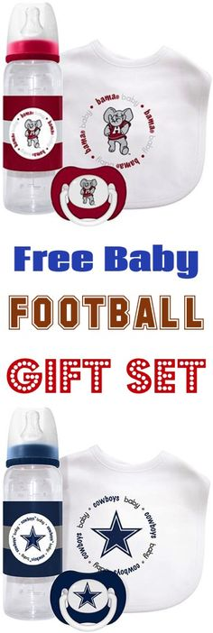 Baby Football Outfit accessories!  Such a fun way for baby to root on your favorite team on Game Day.  They make the CUTEST shower gifts for babies, too! | http://thefrugalgirls.com/2016/12/free-baby-football-bibs-gift-set.html