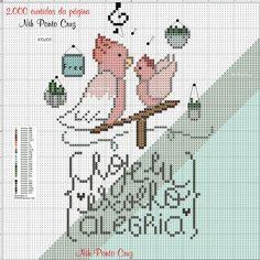 Cross Stitch Charts, Bullet Journal, Birds, Nova, Cross Stitch Samplers, Ideas, Frases, Words, Birdcages
