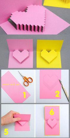 Valentinsgruß Tag pixelierte Popup Karte Source by mvzgpetovar Paper Hearts Origami, Instruções Origami, Origami Heart, Diy Happy Mother's Day, Valentine's Day Diy, Valentine Day Cards, Valentine Crafts, Valentine Ideas, Kids Valentines