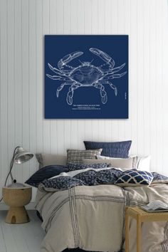 """Oliver Gal """"The Common Blue Crab"""" Canvas Art//"""