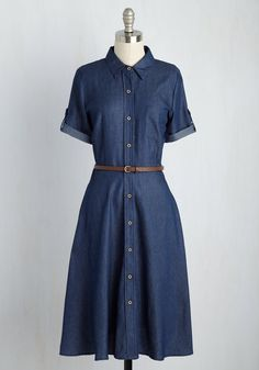 Everybody needs a denim dress in their closet! Of Creeks Bearing Gifts Denim Dress. After setting up your campsite in this chambray shirt dress, you dip your feet into a small stream. Cute Dresses, Casual Dresses, Fashion Dresses, Midi Dresses, Work Dresses, Summer Dresses, Retro Vintage Dresses, Vintage Inspired Dresses, Denim Fashion