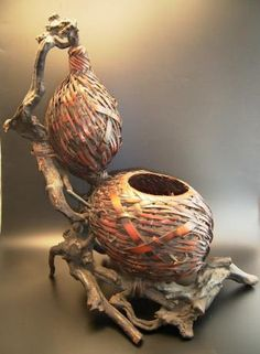 """Japanese early 20th century gourd shaped """"beehive"""" basket and natural wood and root stand."""